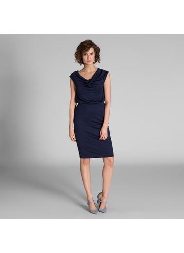 Vekem-Limited Edition Degaje Yaka Kolsuz Elbise Lacivert